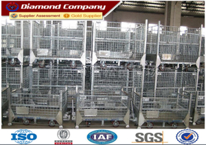 Foldable warehouse storage cage&stackable metal storage cage&warehouse storage cage with wheels&wire mesh container storage cage