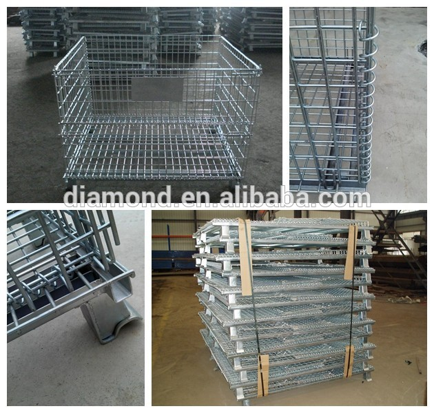Galvanized folding metal wire mesh container storage cage