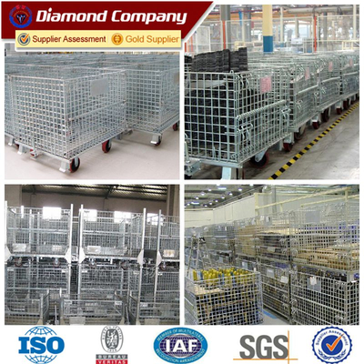 Collapsible and stackable warehouse storage cage,iindustrial stackable wire mesh storage cage