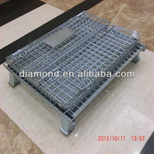 Folding wire container storage cage ,Metal cage storage container,wire mesh container.equipment metal storage cage