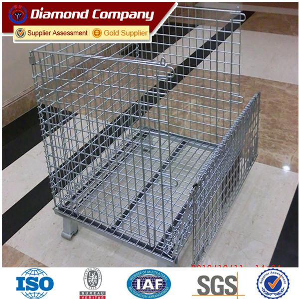 High quality galvanized steel wire mesh container,foldable metal cage storage container,folding steel storage cage,