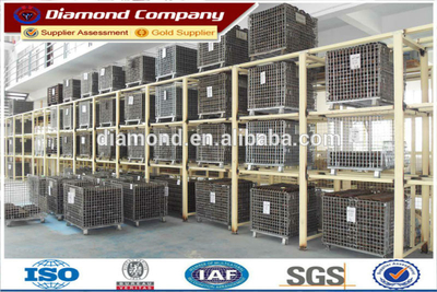 Metal foldable storage cage hot sale,lockable storage cage,stackable steel stroage cage with wheels(manufactures,ISO quality)