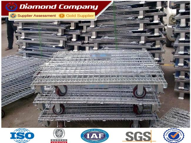 foldable warehouse mesh storage cages,galvanized metal folding storage cage