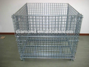 Portable wire mesh container/removable warehouse storage cage/heavy duty quipment metal storage cage