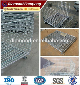 metal wire mesh container/collapsible wire mesh metal storage container/wire mesh pallet cage
