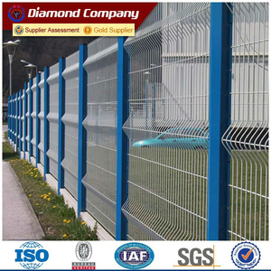 white vinyl coated welded wire fence/ galvanized welded curved fence